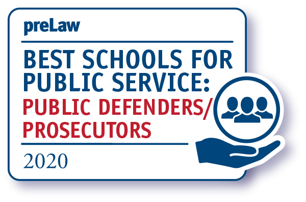 preLaw 2020 Best Schools for Public Service badge