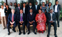Emeritus Professor Ted Parnall, front left, at a November workshop in Kigali, Rwanda. Ben Twinomugisha, dean of the Makerere University law faculty in Uganda, is sixth from the right in back row.