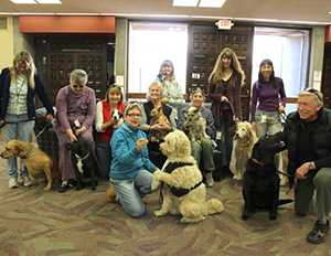 The Student Animal Legal Defense Fund coordinated therapy dog volunteers and their four-legged buddies to help relieve stress and bring smiles.