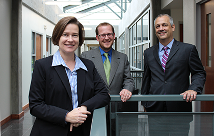 From left to right: Professors Mary L. Pareja, Scott England, and Serge Martinez
