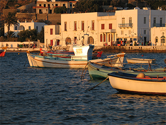 Mykonos Harbor at Sunset by Raylene Weis, photograph