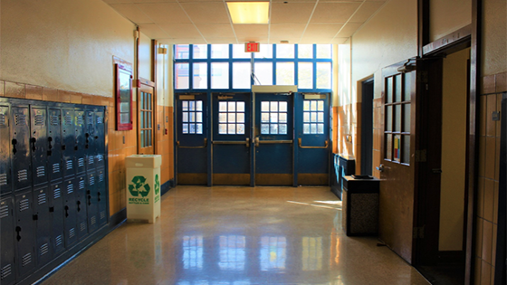Hallway at Highland High School in Albuquerque, NM. Photo by Sal Guardiola II
